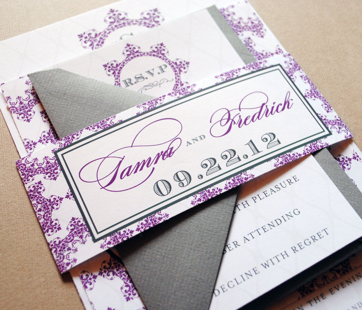 Purple Wedding Invitations And Gray Belly Band Plum