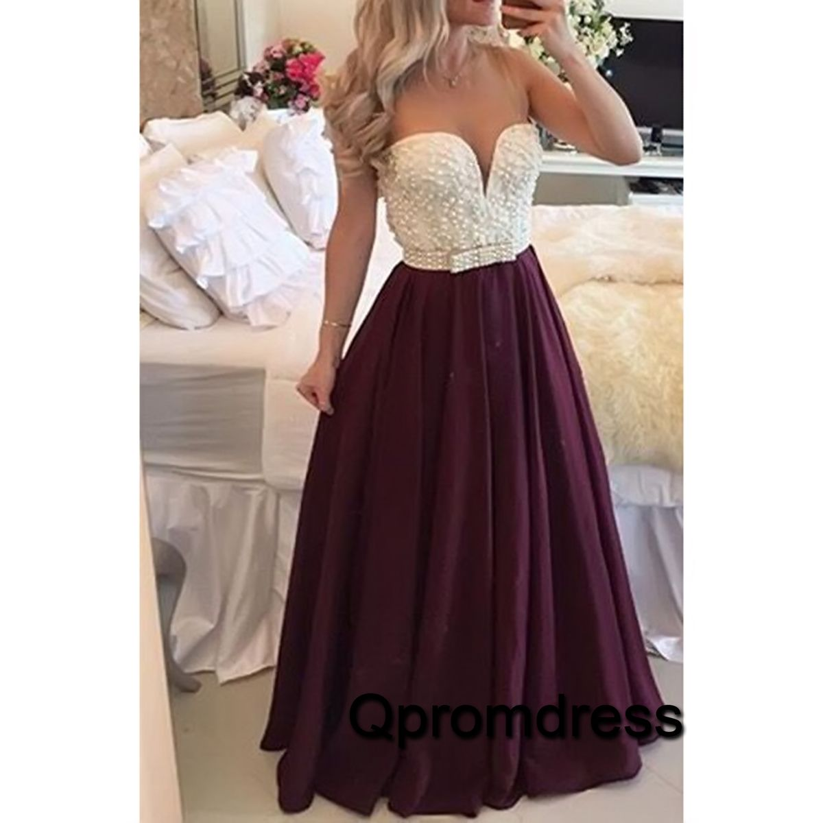 Pretty burgundy chiffon long prom dress with pearls on top modest