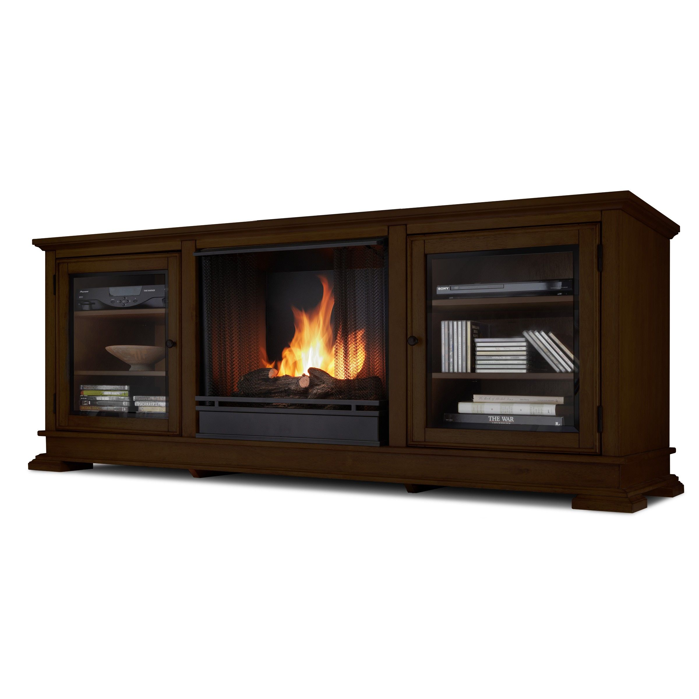 Classic flame belmont 60 quot tv stand with electric fireplace - Real Flame Hudson Espresso Entertainment Center With Gel Fireplace