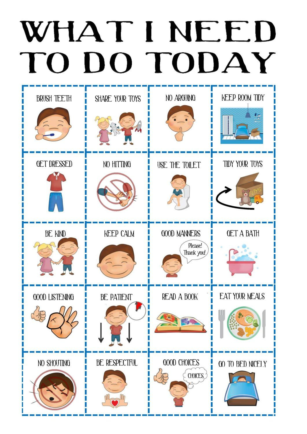 Boys Behaviour chart, Kid\'s Daily Planner, toddler routine chart ...