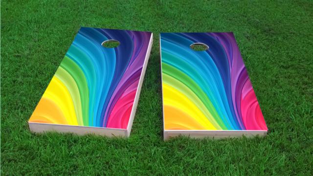 Rainbow Themed Custom Cornhole Board Design Projects