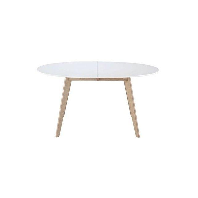 Table Extensible Ovale Blanche Et Bois Clair Leena Pinterest