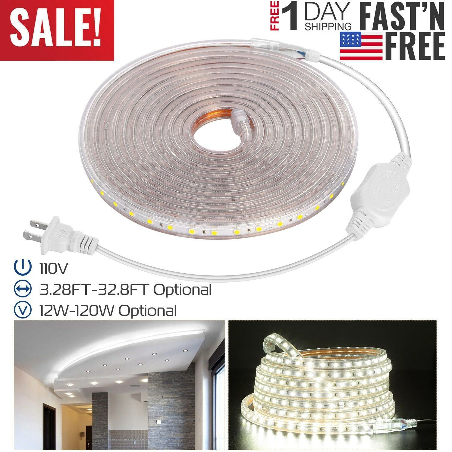 110v Led Strip Light Smd 5050 Flexible Tape Home Outdoor Lighting Rope Us Plug 15 46 Outdoor Lighting Ideas Strip Lighting Led Strip Lighting Led Strip