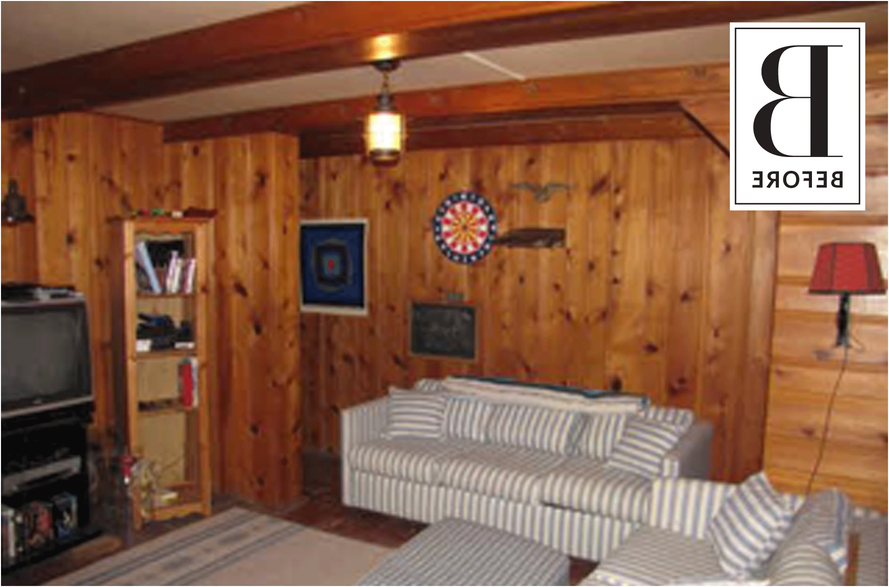 wood panel basement diy makeover apartment therapy from wood rh pinterest com wood paneling basement walls wood paneling basement ceiling