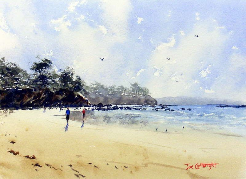 Beach Scenes Watercolor Paintings Finished Watercolor Seascape