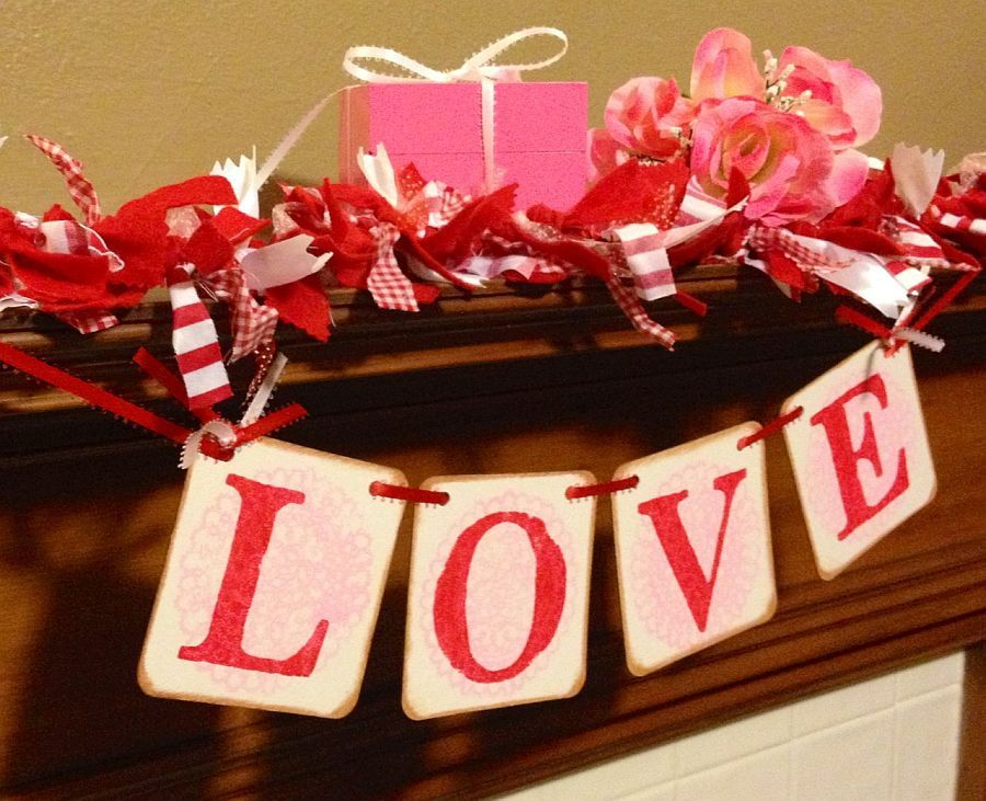 Valentines Day decoration banner LOVE red and pink sign banner garland Happy Valentines Day. $11.00, via Etsy.