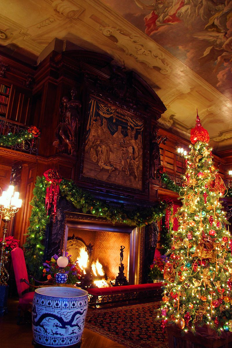 Biltmore House Library Fireplace Christmas