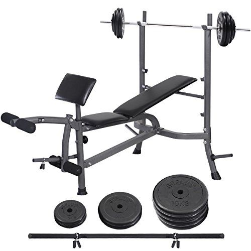 Goplus Weight Curl Bench Press Workout Exercise Fitness 132lb Barbell Dumbbell Set Bench Press Workout Bench Press At Home Gym