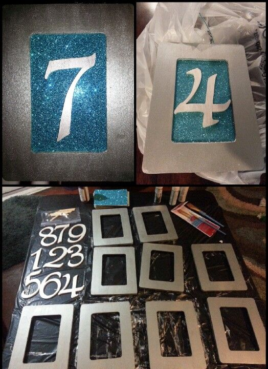 DIY wedding table numbers. Unfinished 4x6 wood frames from Michaels ...