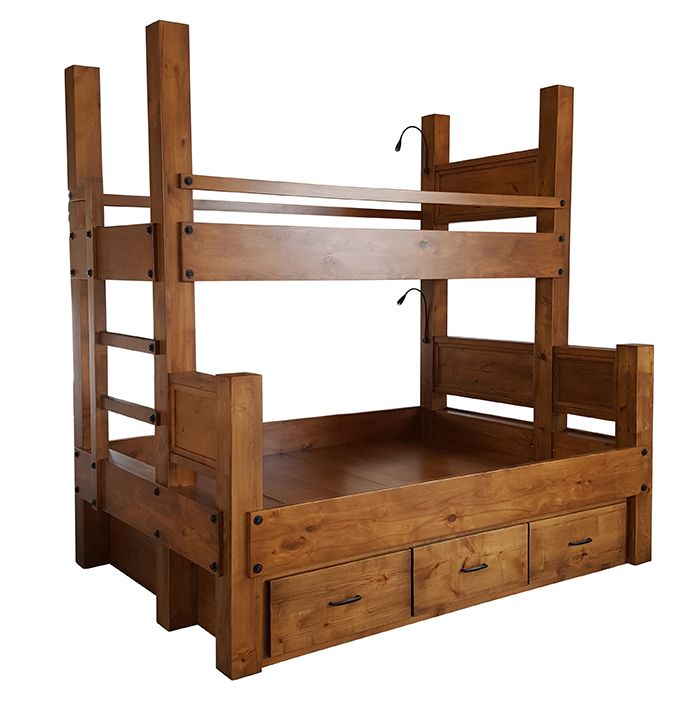 Twin Xl Over Queen Bunk Bed With Integrated Ladder Shown With