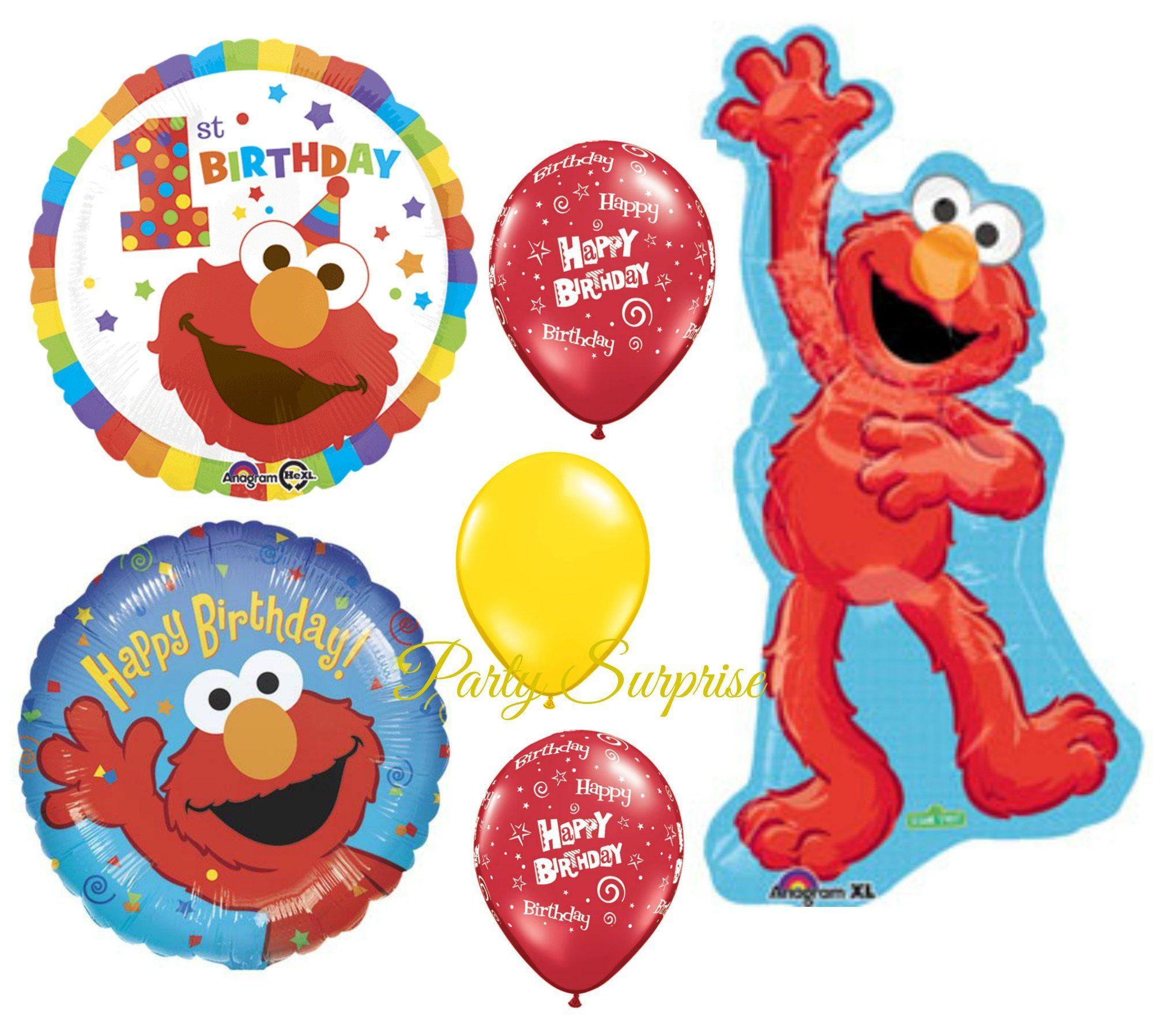 1st Birthday Elmo Sesame Street Balloon Package Happy Balloons Baby Girl Boy Party