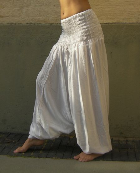 White Harem Pants.     Harem pants are great for casual & dance wear. The waist design is wide & stretchy for a comfortable fit. This style is also perfect for pregnant women. Harem pants can be worn in three different ways; as pants, a skirt or a jumpsuit.