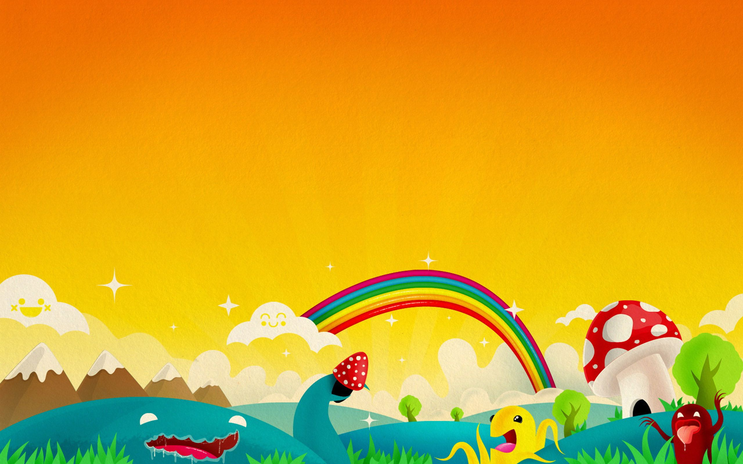 Rainbow Orange Background Kids Wallpaper Kids Design Rainbow Wallpaper