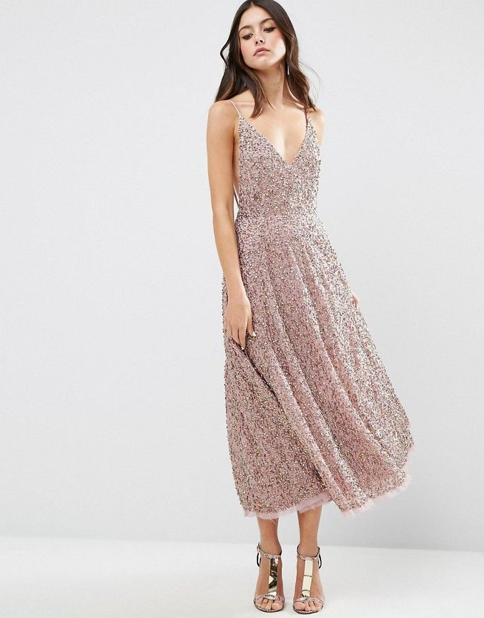 ASOS All Over Embellished Distressed Hem Midi Dress ...