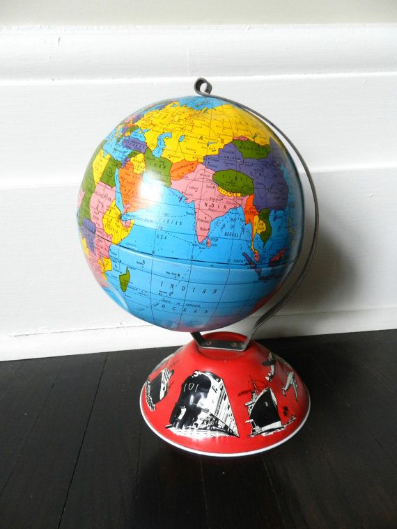Vintage tin globe world globe desk globe ohio art globe made vintage tin globe world globe desk globe by greysquirrelantiques 2950 gumiabroncs Images