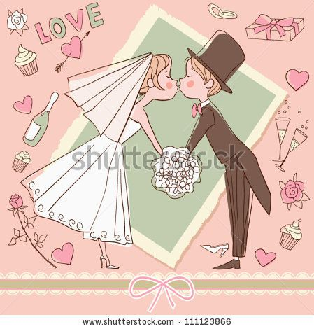 Wedding set: Bride and groom kissing