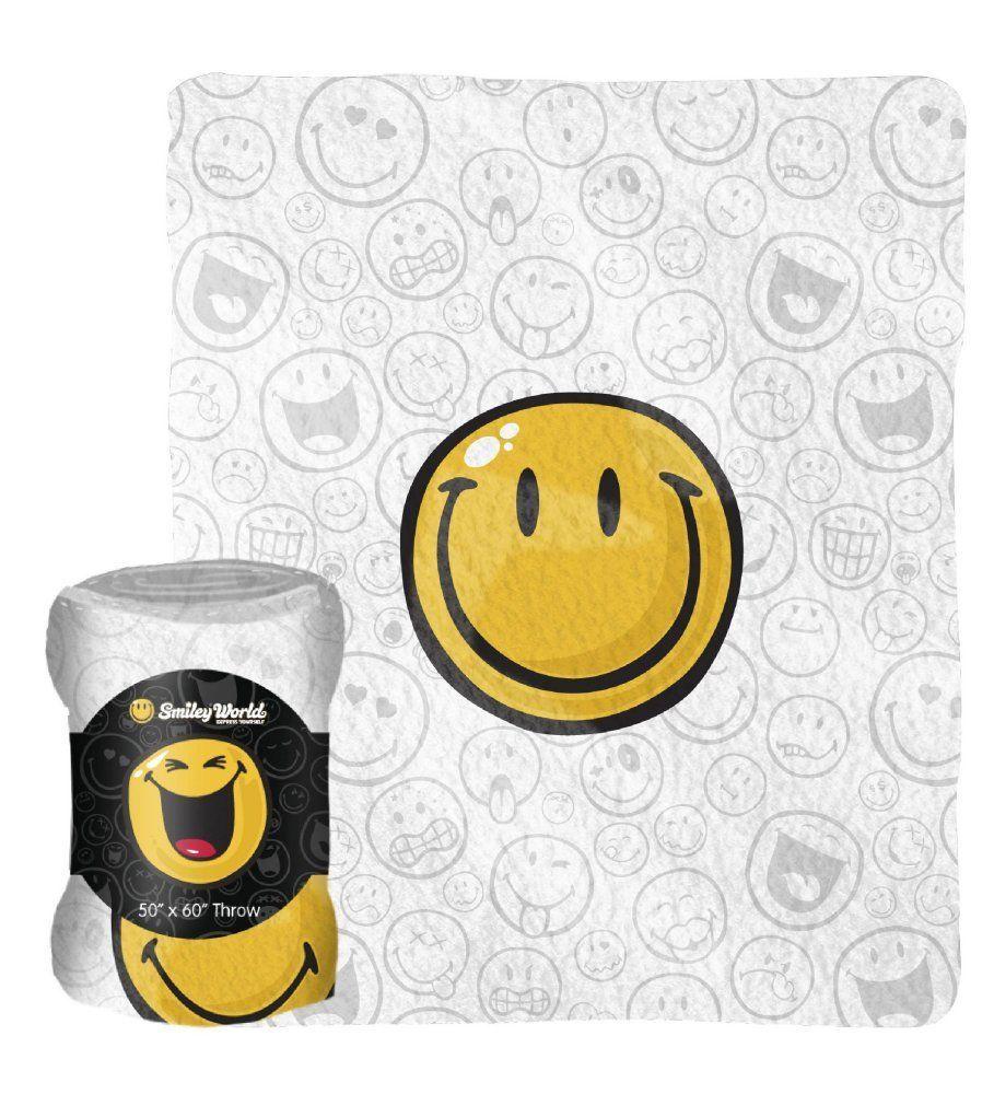 Collectable blankets smiley face fleece throw blanket