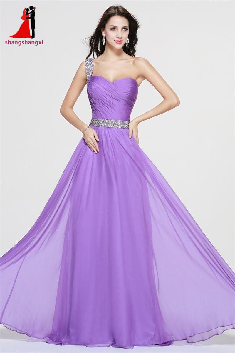 Click to buy ucuc purple long evening dresses one shoulder