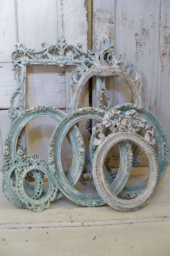 Shabby chic soft blue frame grouping set distressed with white and ...