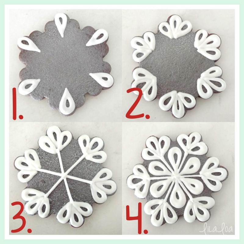 Snowflake sugar cookie decorating tutorial #sugarcookies