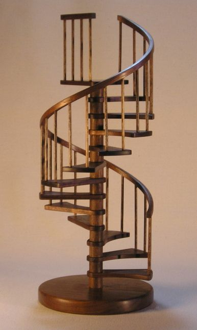 Architectural Model Of A Solid Walnut Spiral Staircase.