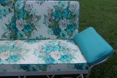 Superior Vintage 1950u0027s Aluminum Porch Glider Turqoise Floral Cushions Local Pickup  Only