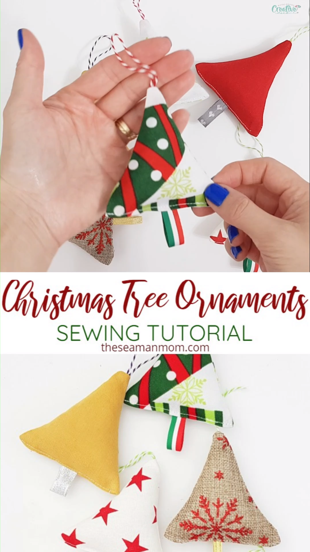 This year add a dose of cuteness to your Christmas tree when you make your own fabric Christmas ornaments! These fabric Christmas tree ornaments are super easy and quick to sew and a great scrap project!  #easypeasycreativeideas #christmas #sew #sewing #sewingforthehome #sewingforbeginners #beginnersewing #beginnersewingprojects #christmasdecor #christmastree #easysewingprojects #scraps #fabriccrafts