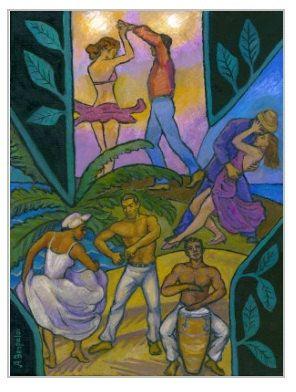Salsa y Guaguango Poster Salsa Dancers Salsa by AllaGerzonArt, $20.00