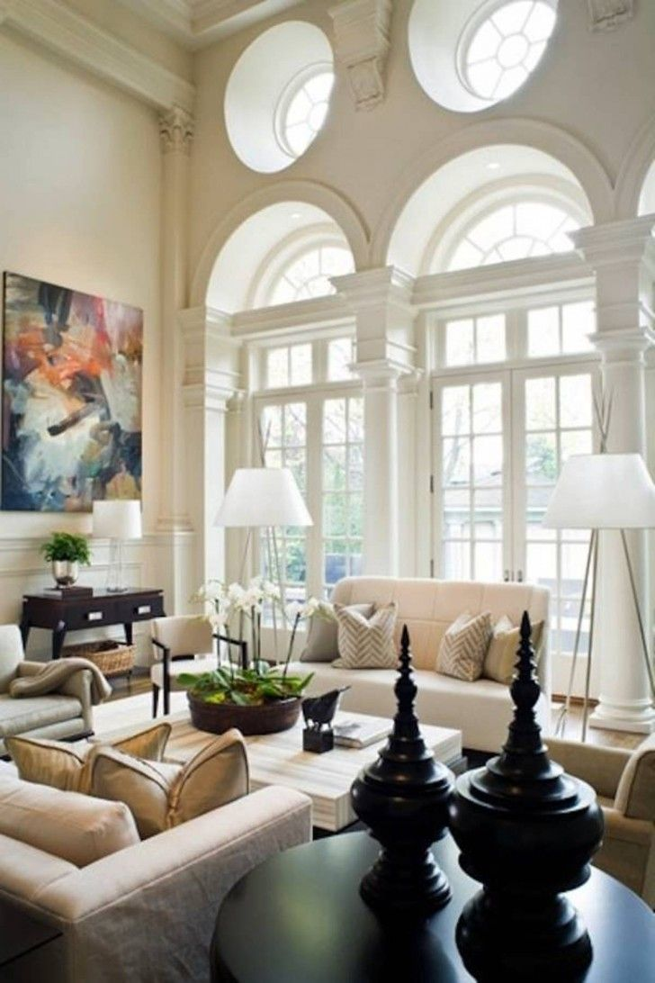 Lovely High Ceiling Living Room Ideas With Antique big Glass Window ...