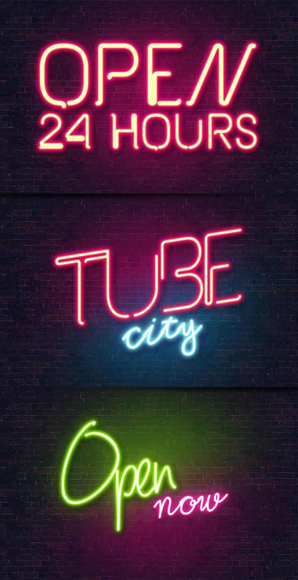 Neon Text Effect Photoshop : effect, photoshop, Effect, Style, Typography,, Neon,, Photoshop, Effects