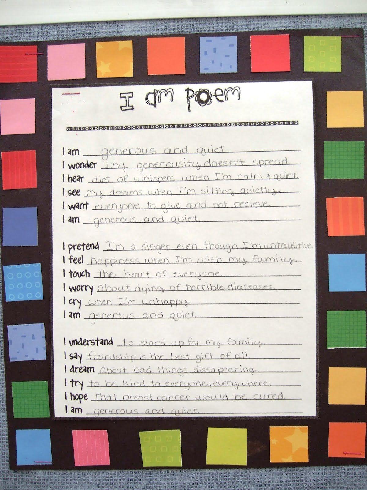 the inspired classroom: i am poem | language arts | pinterest