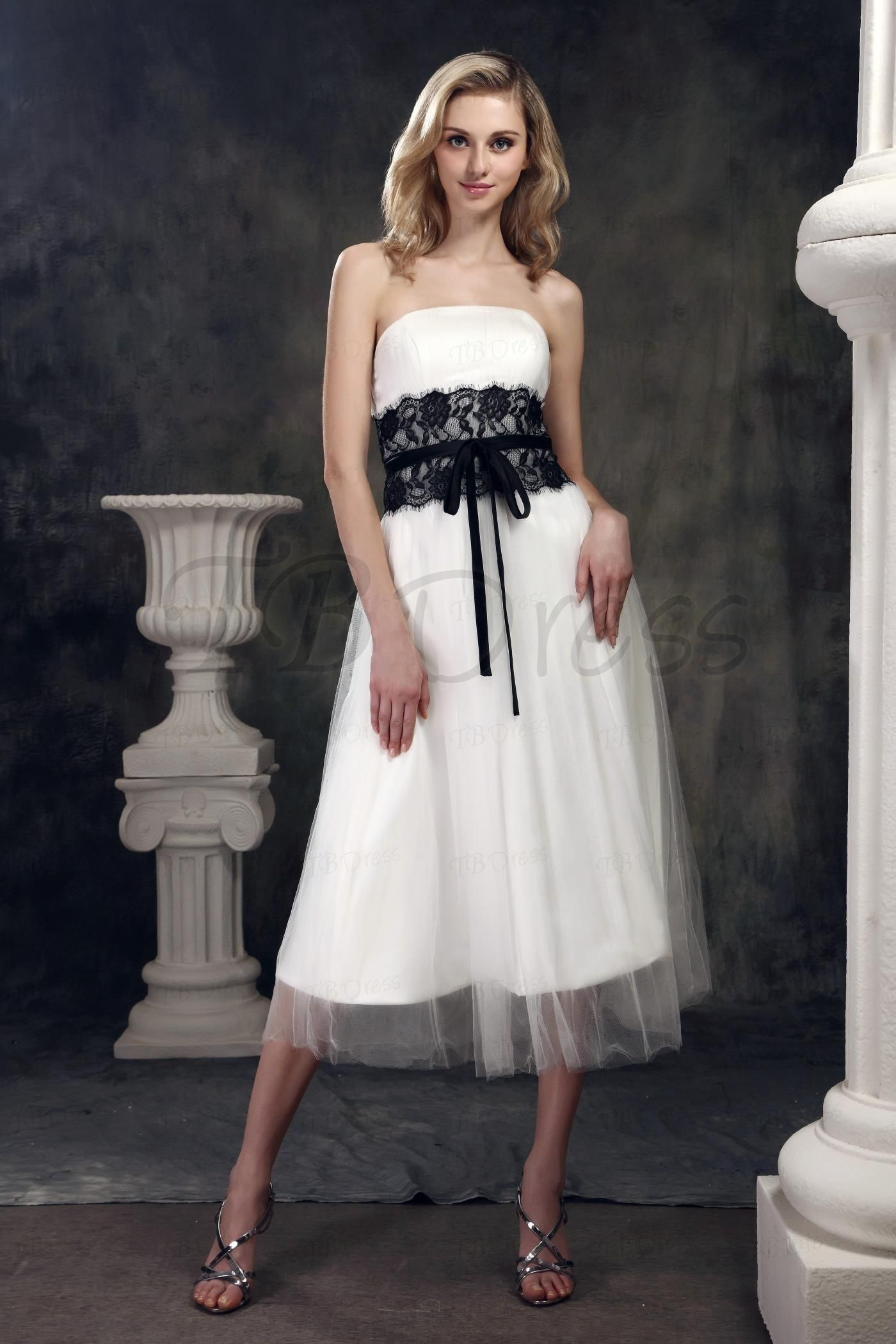Amazing aline strapless tealength lace trimmed dashaus wedding