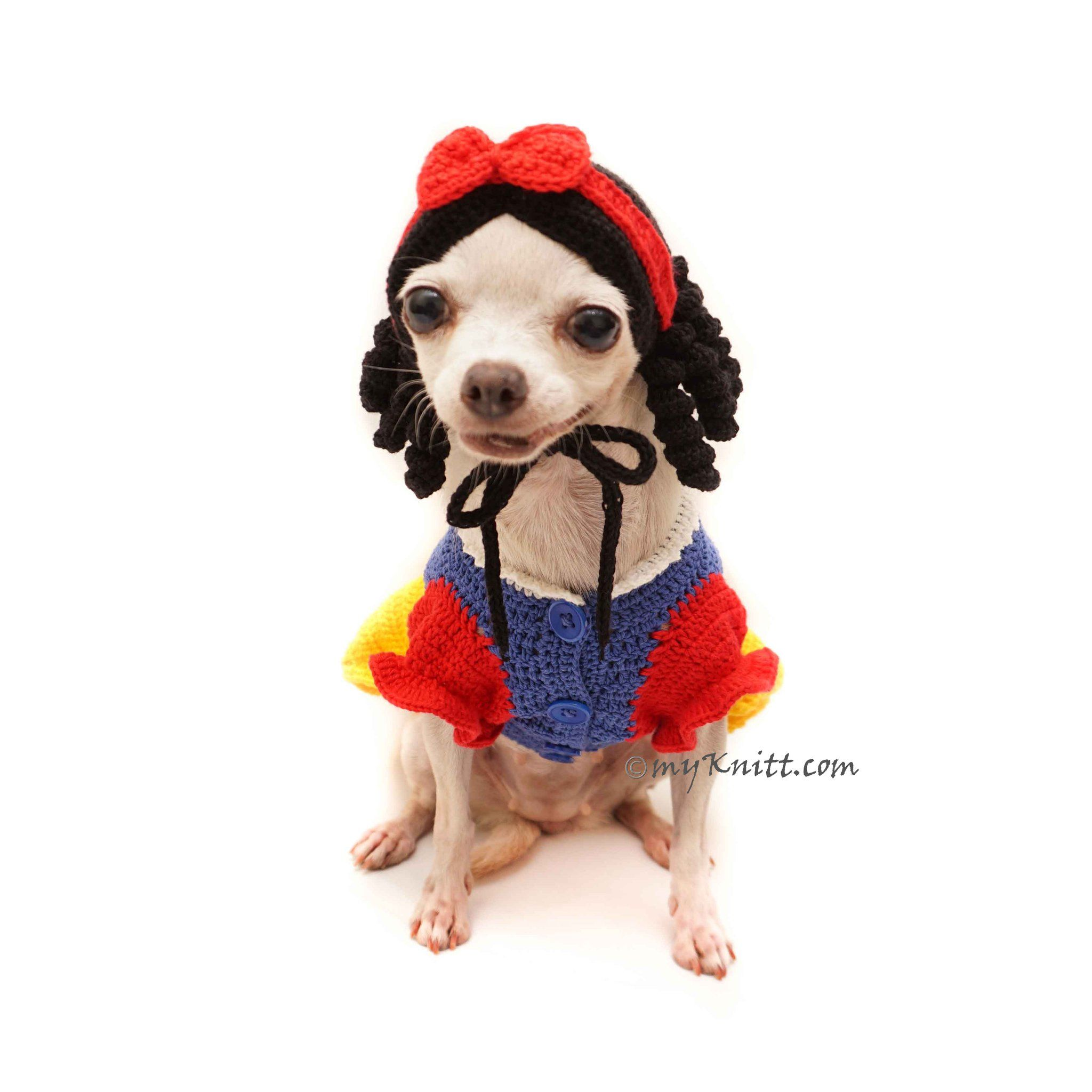 Snow White Dog Costume, Disney Dog Costumes, Crochet Dog Hat DF123 is part of Snow White Dog Costume Ebay - Snow White Dog Costume with Crochet Dog Hat  Funny Pet Costumes, Disney Dog Costumes  Any Custom Dog Clothes are welcome  Made of 100% cotton yarn material, very soft and comfortable