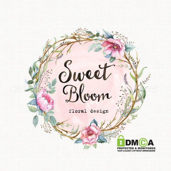watercolor flower logo with frame premade logo design