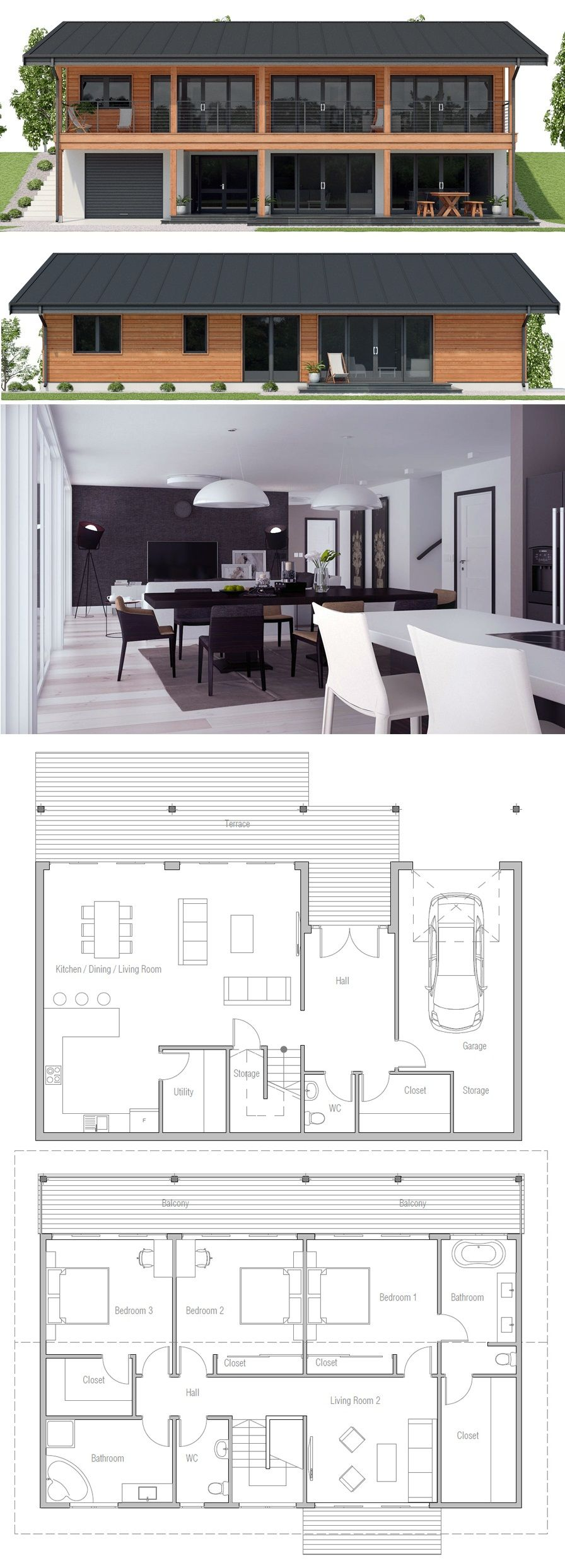 Sloping Lot House Plan Haus 1 Haus Pl Ne Haus Bauen