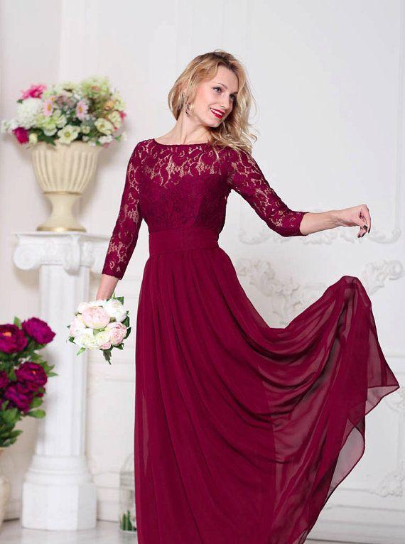 Burgunder Brautjungfer Kleid Marsala von AliceBerryFashion auf Etsy