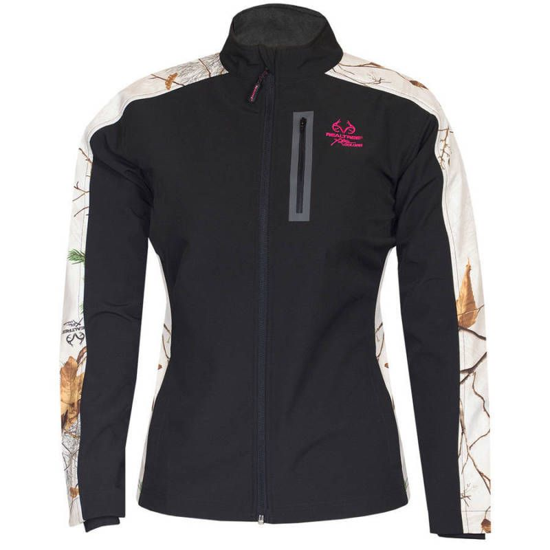 6f7a411ae3cd0 Realtree Women Soft Shell Hunting Coat Jacket Camo Softshell RT Snow Black M