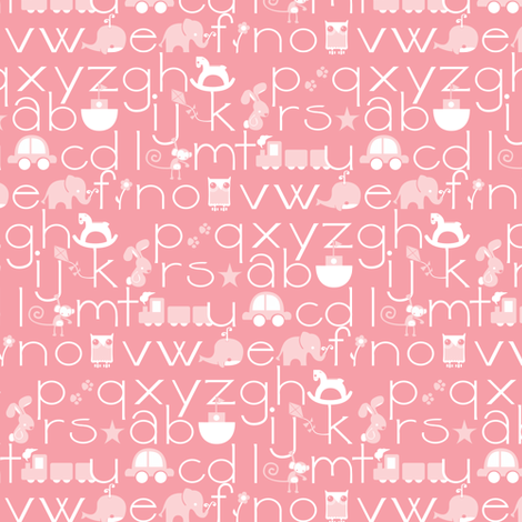 ABC Baby - Pink/White fabric by ttoz on Spoonflower - custom fabric