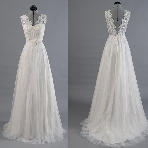 Best Sale Vantage V-Back Lace Top Simple Design Wedding Party ...