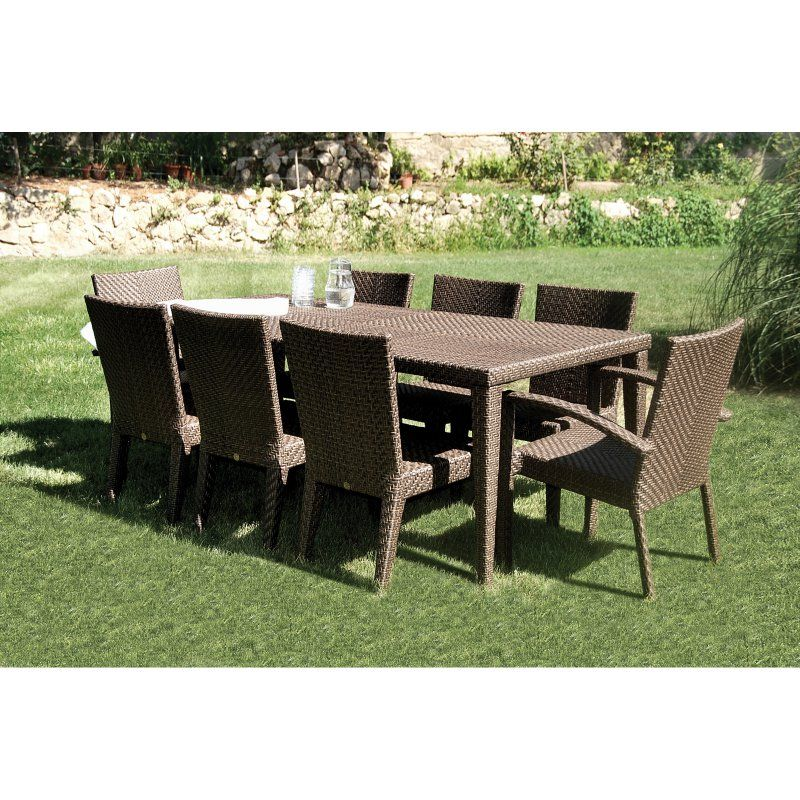 Beau Outdoor Hospitality Rattan Soho 9 Piece Patio Dining Set   Rehau Fiber Java  Brown   Seats
