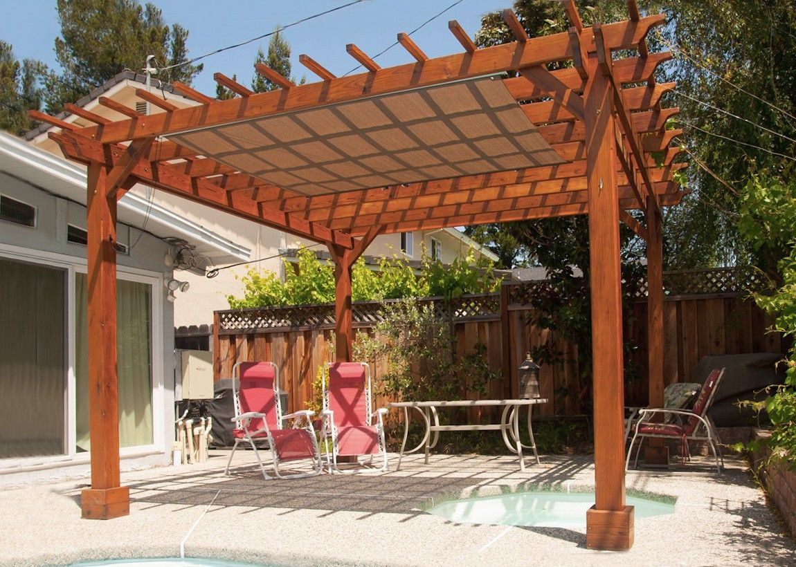 Beautiful 9ft Height Redwood Pergola With Open Roof All