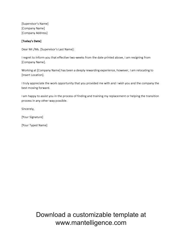 Two Week Notice Letter template Pinterest Resignation letter - two weeks notice letter
