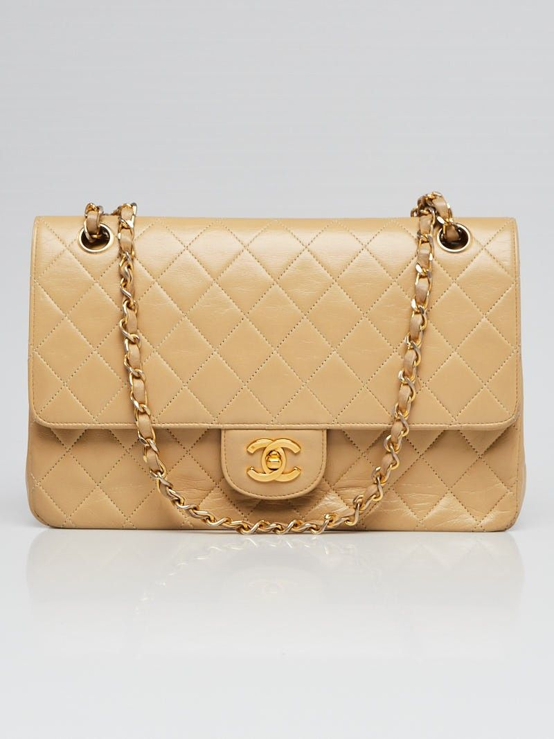 ed0d65bd12435 Chanel Vintage Beige Quilted Lambskin Leather Classic Medium Double Flap Bag  - Yoogi s Closet