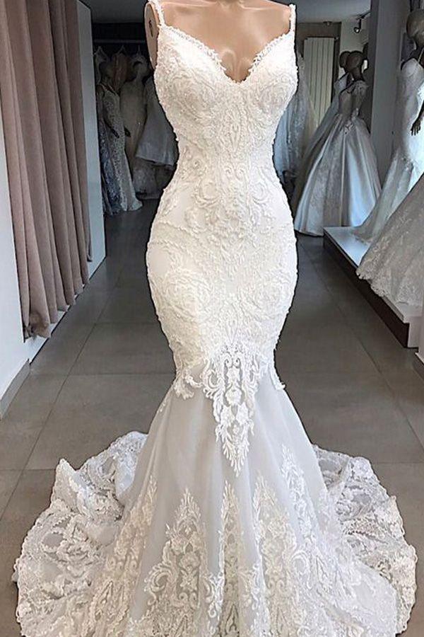 Laurenbridal Elegant Tulle Spaghetti Straps Neckline Mermaid Wedding Dresses With Beaded Lace Appliques