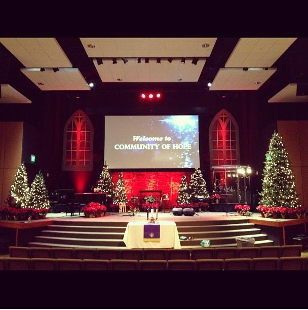 Church Christmas Decorations Stage Design
