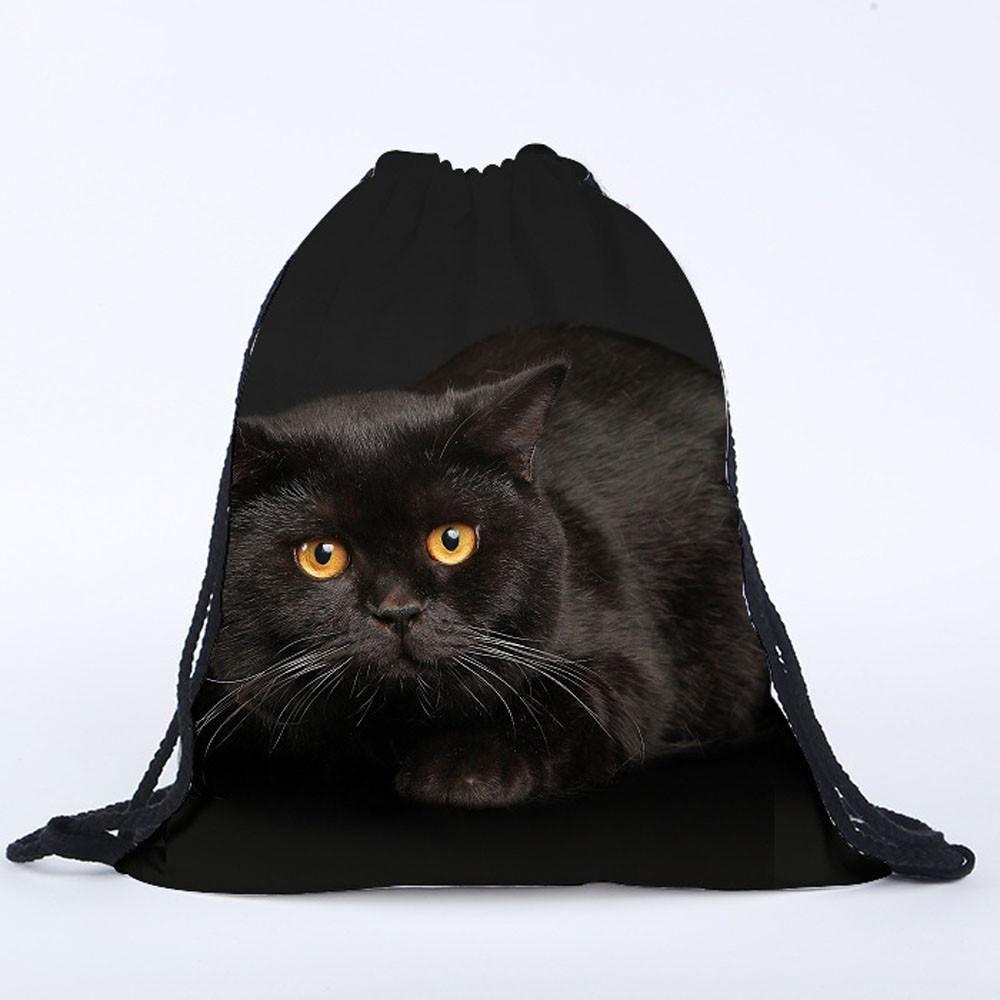Women S Black 3d Cat Drawstring Backpack Book Bag Purse Free