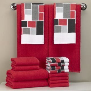 redblackgraytan colorblock mosaic 16pc print and solid towel set - Red And Black Print Bath Towels