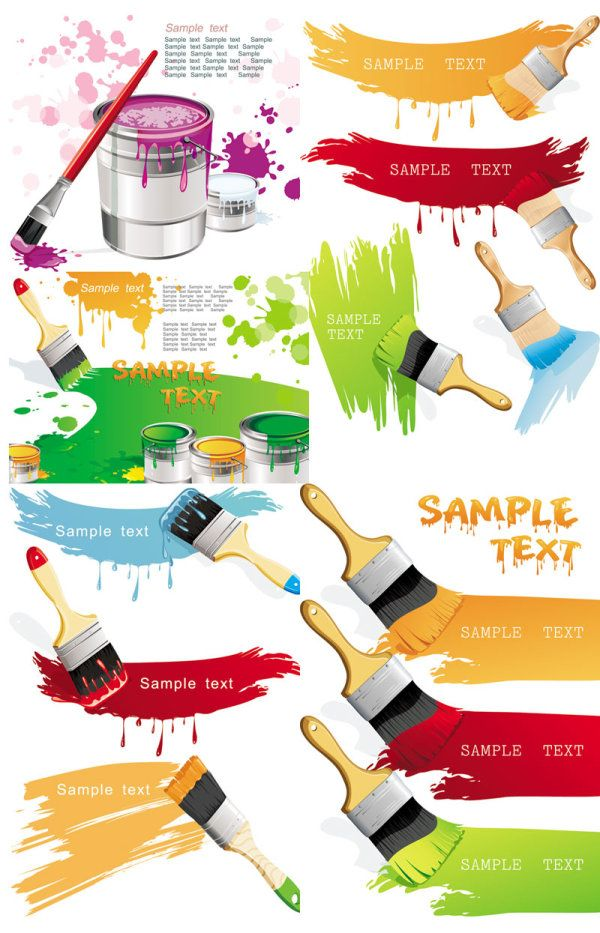 Paint Brush And Color Paint Brushes Vector Free Paint Brush Art