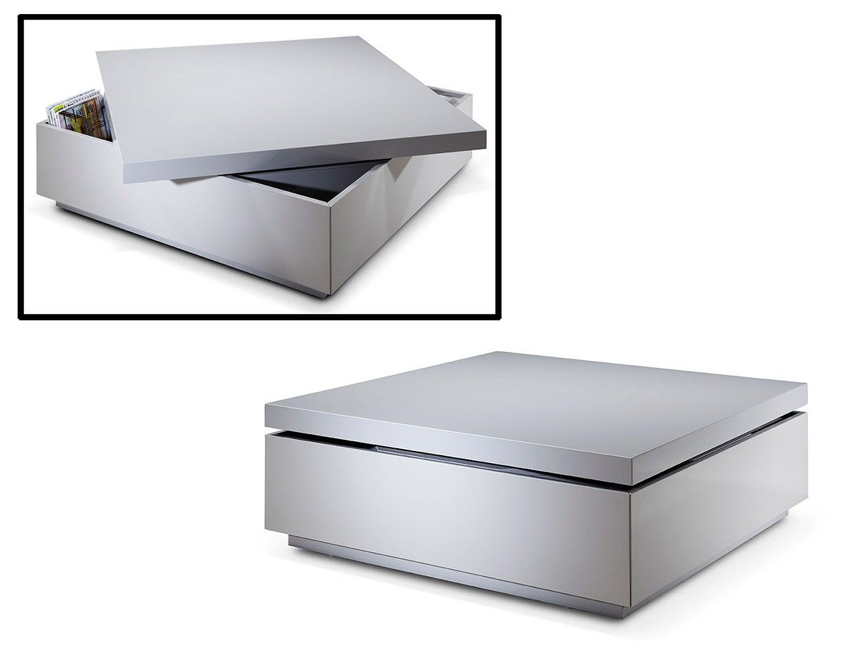 SE130C Modern Grey Lacquer Swivel Coffee Table w/ Storage  sc 1 st  Pinterest & SE130C Modern Grey Lacquer Swivel Coffee Table w/ Storage ...
