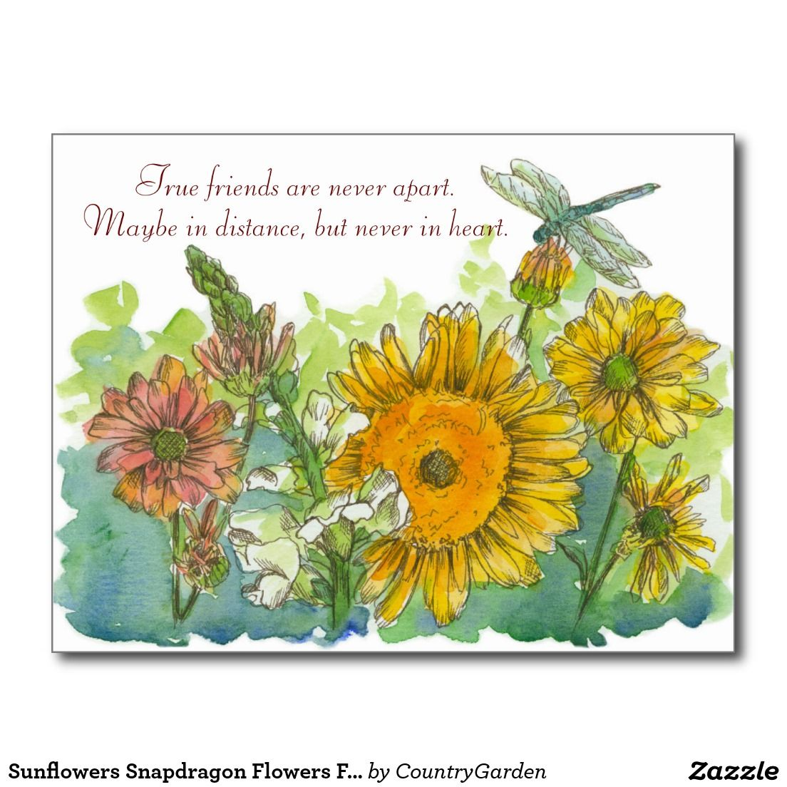 True Friends Are Never Apart Poem Sunflowers Postcard